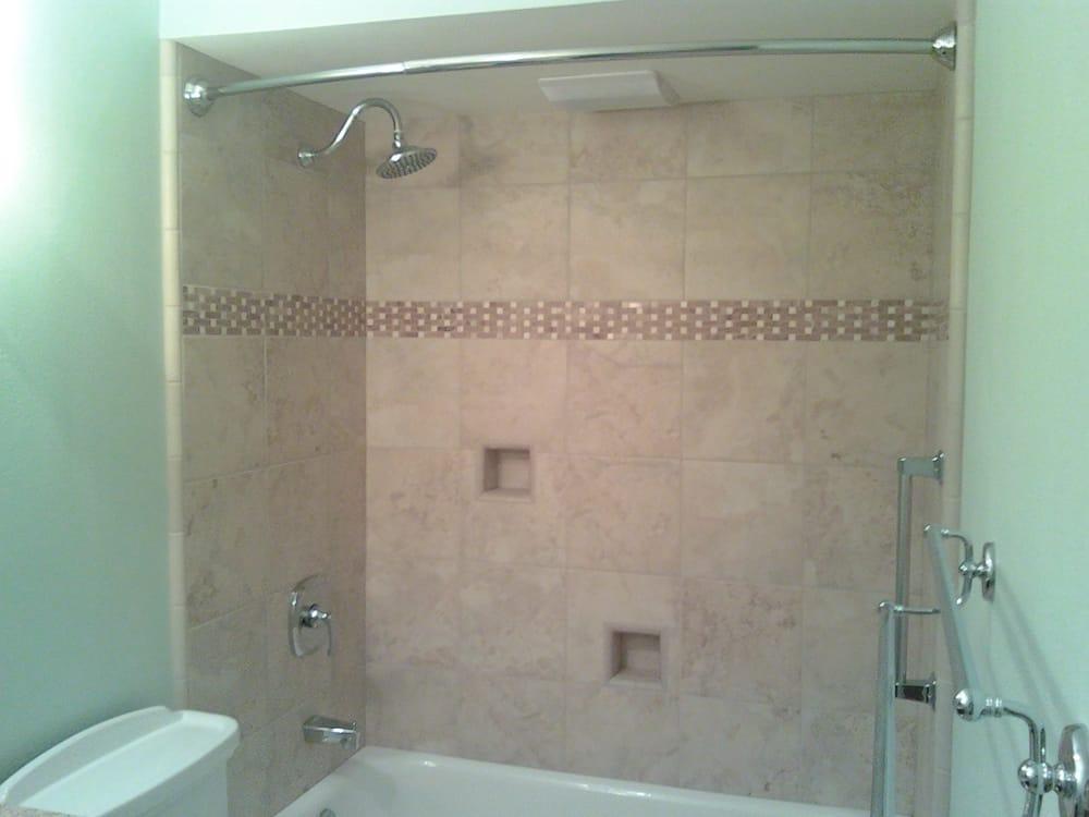 Ceramic tile shower with basketweave border - Yelp