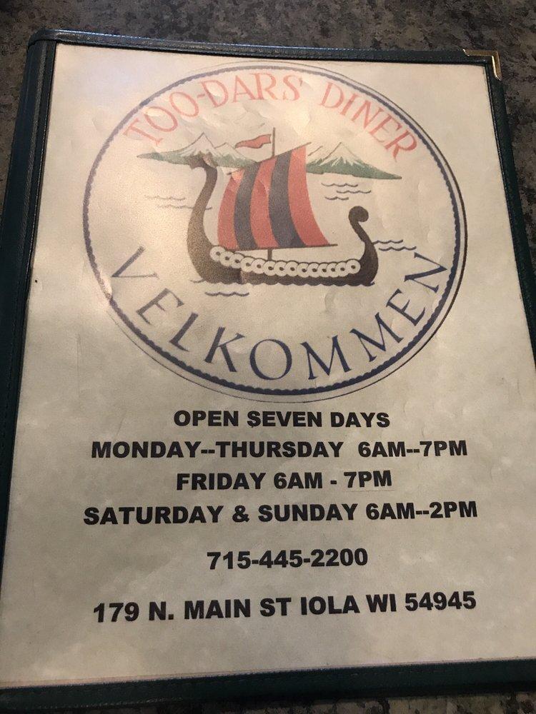 Too-Dars Diner: 179 N Main St, Iola, WI