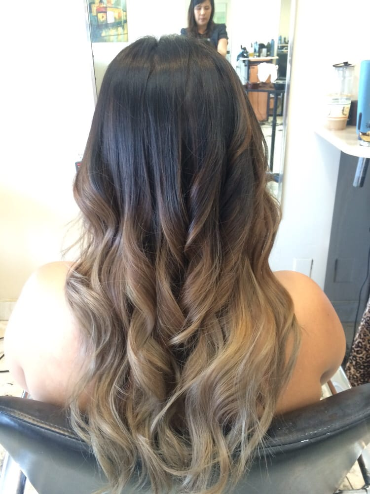 Ashy Medium Brown Ombre With Balayage Highlights By Vickie Yelp