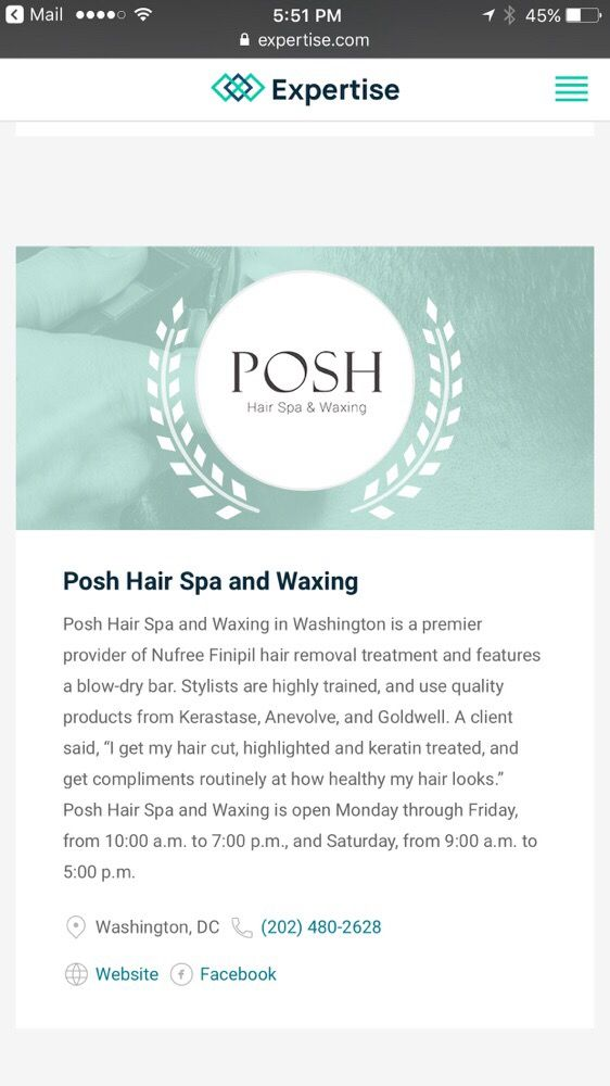 POSH Hair Spa & Waxing: 2025 M St NW, Washington, DC, DC