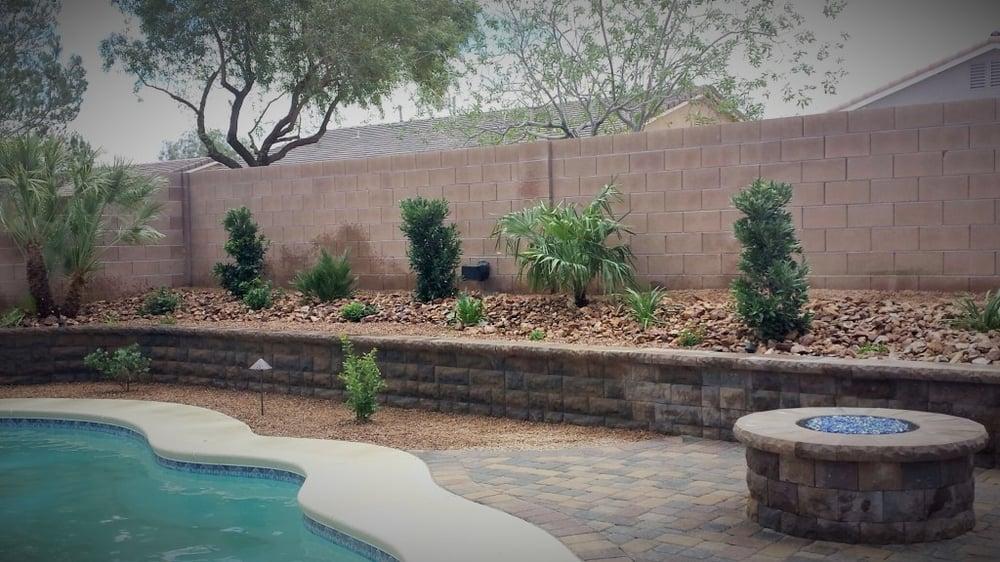 Backyard Install Plants Retaining Wall Fire Pit Pavers