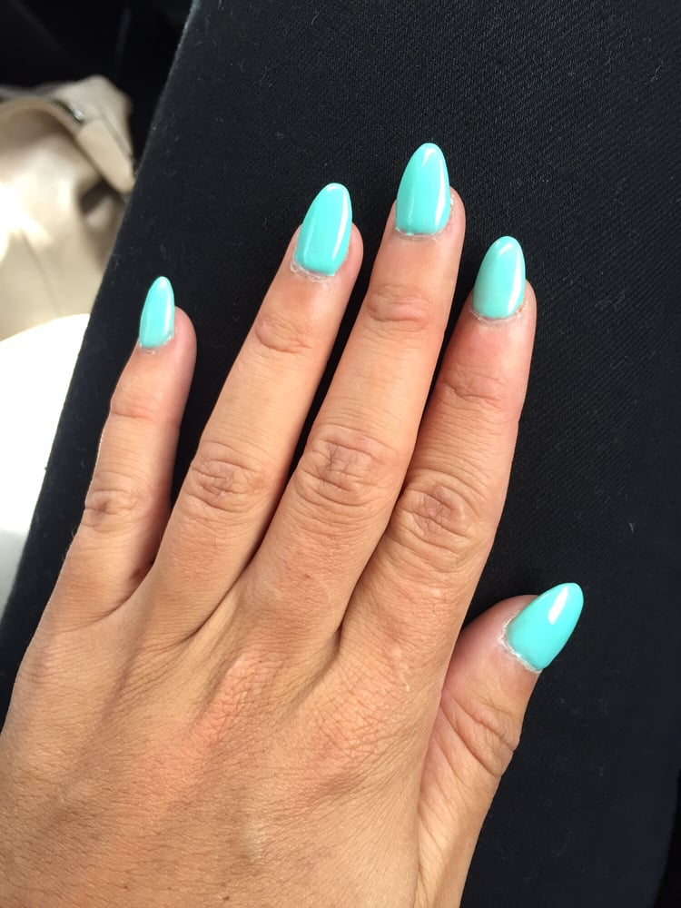 Almond shaped acrylic full set with gel overlay - in love with the ...