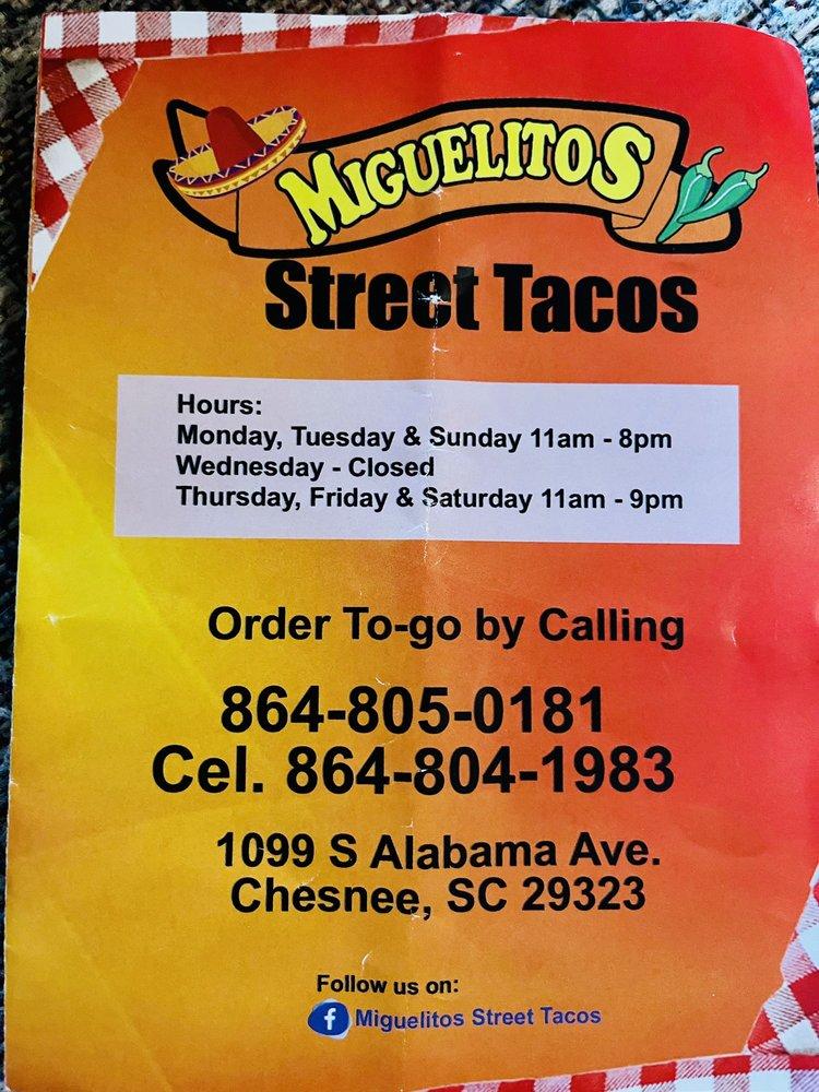 Miguelito's Street Tacos: 1099 S Alabama Ave, Chesnee, SC