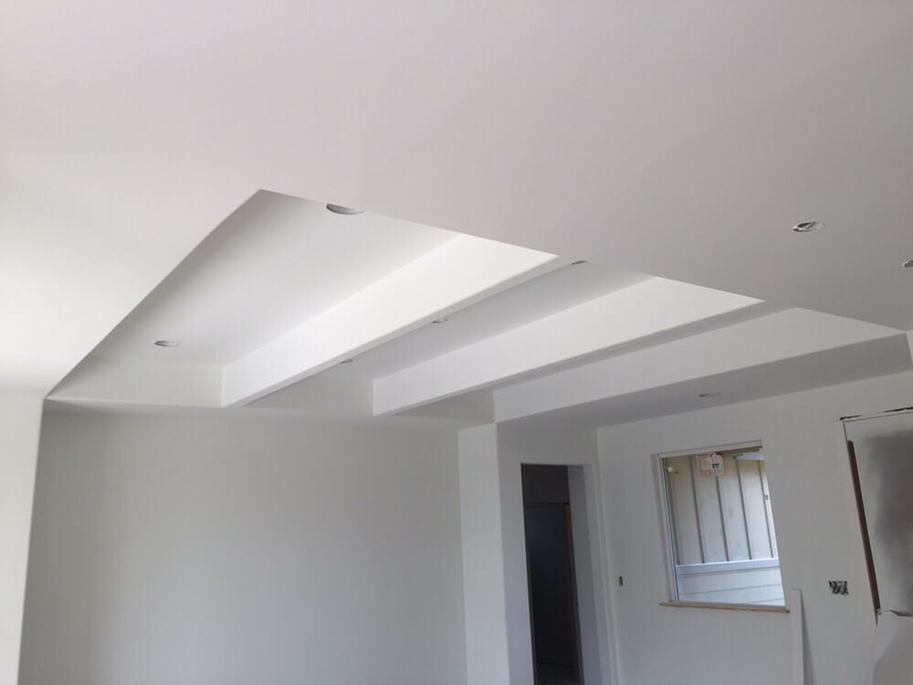 Coffered Ceilings With Light Orange Peel Texture And