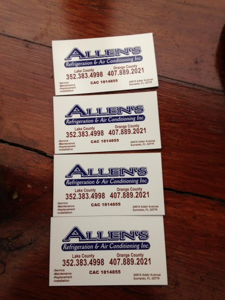 Allen's Refrigeration & Air Conditioning Service: 24615 Adair Ave, Sorrento, FL