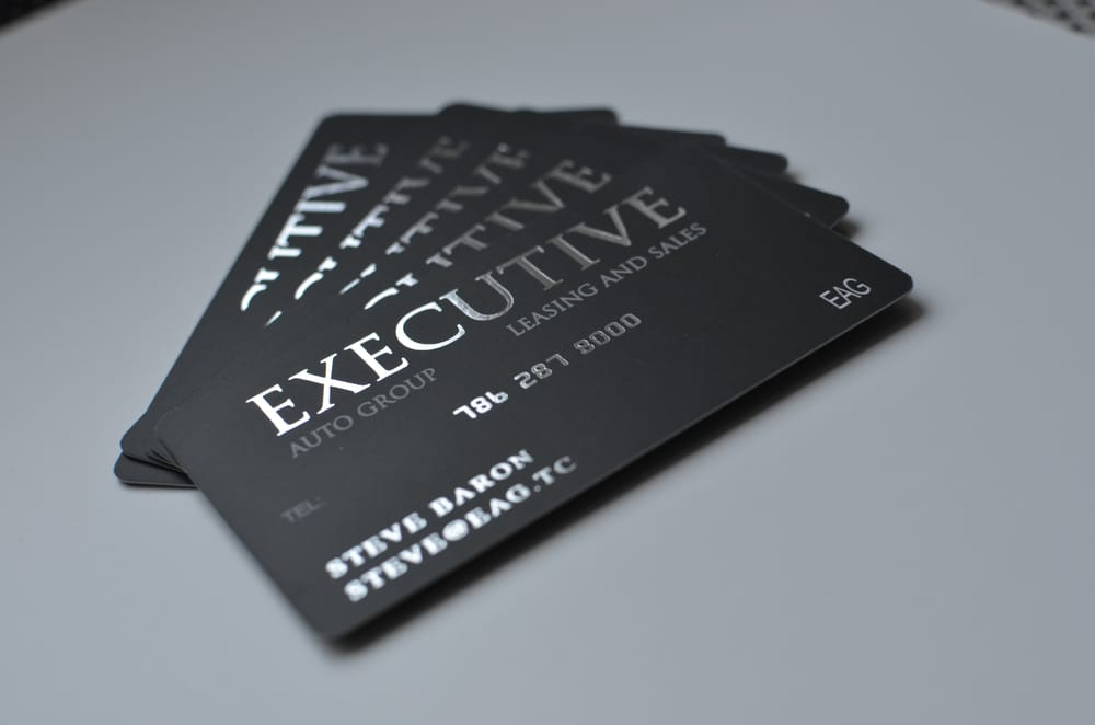 Silver Foil Stamped Business cards printed on 16pt Silk Laminated ...