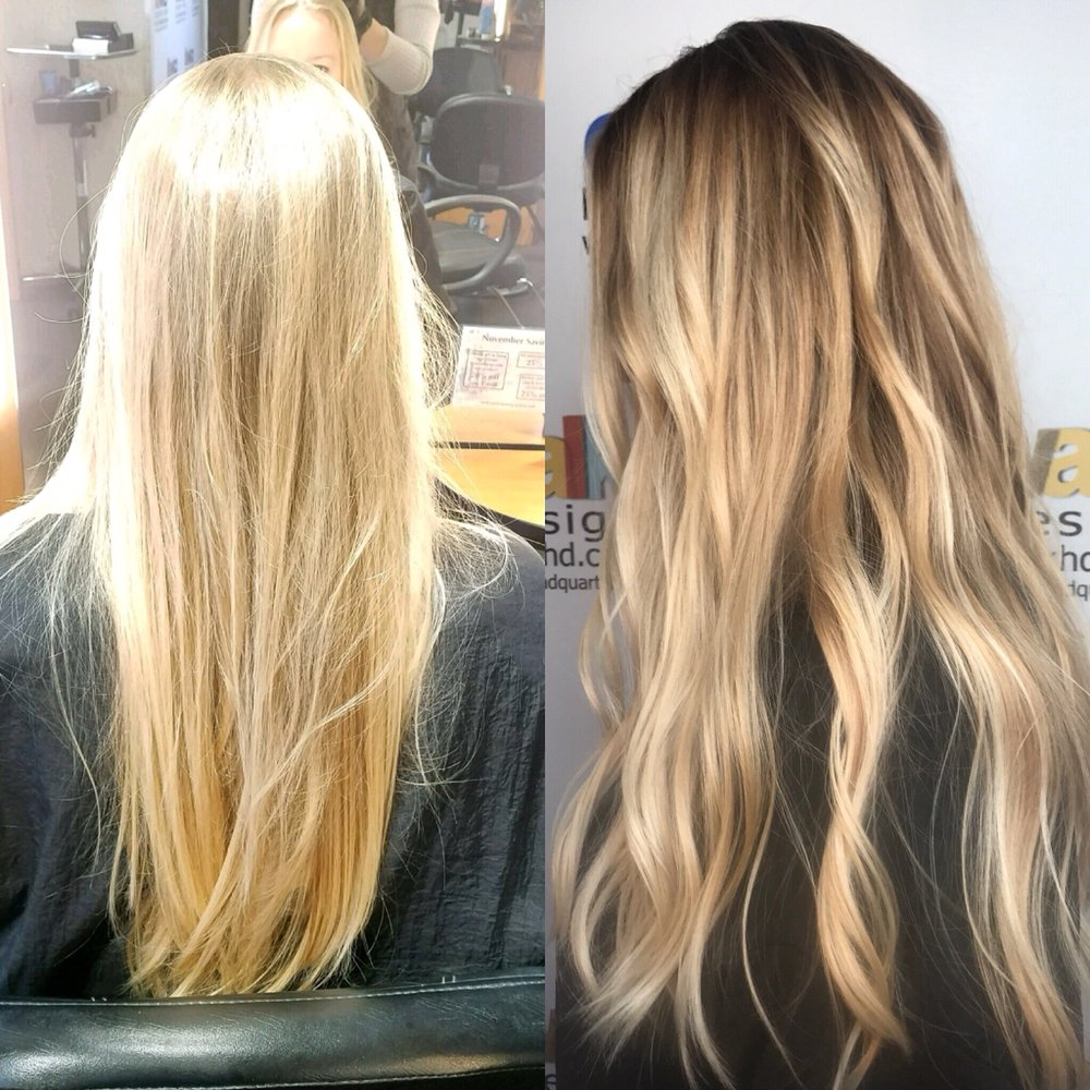 Color correction balyage color melt and toned down blonde - The catwalk hair salon ...