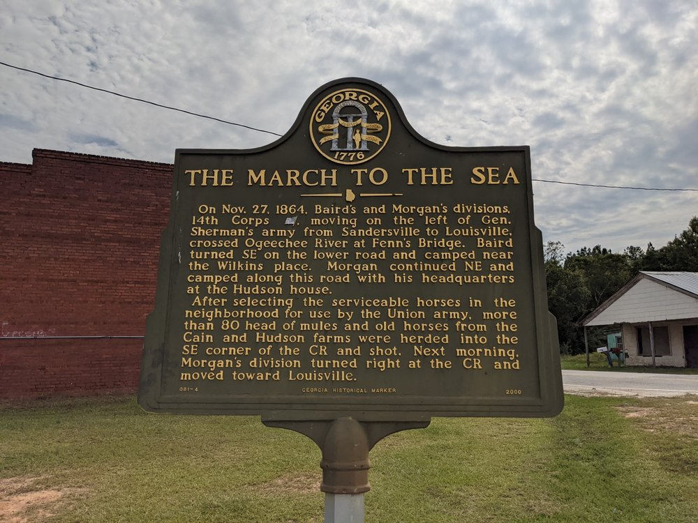 March to the Sea Historical Marker: 16 Grange Rd, Avera, GA