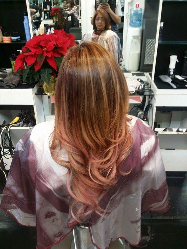 Bayalage with light red ombre yelp for Lux hair salon