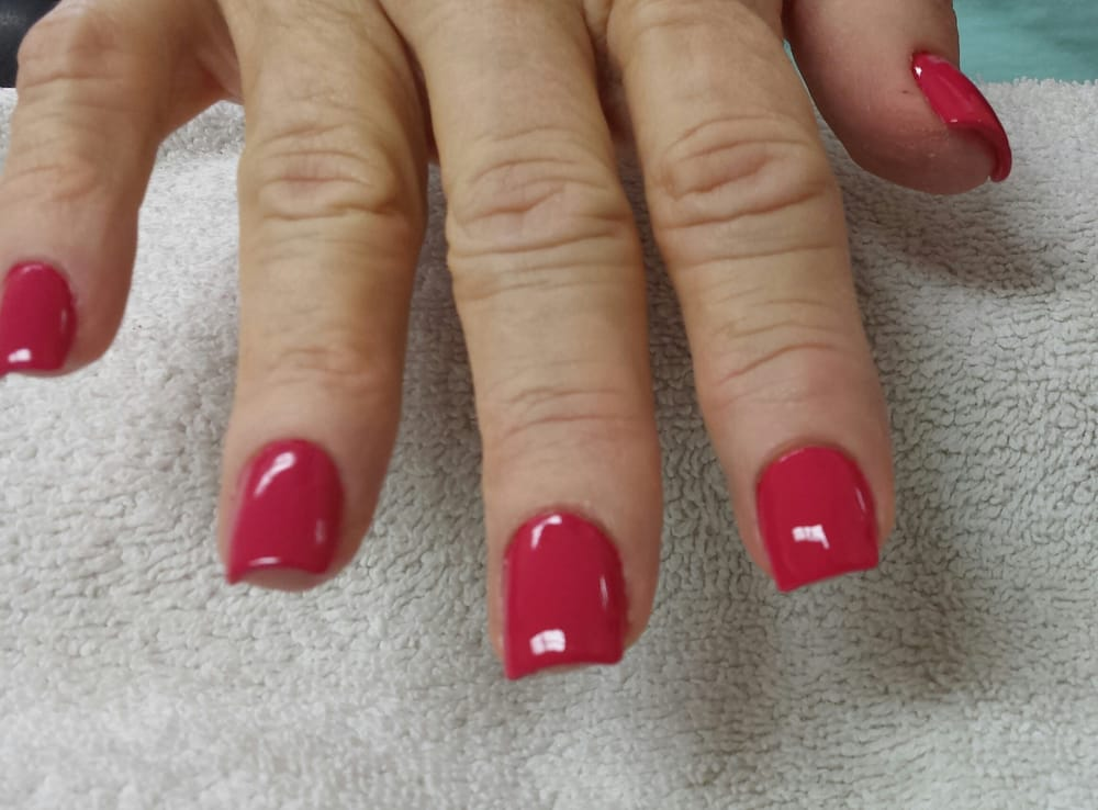 Short square acrylic nails with polish yelp for Acrylic nail salon