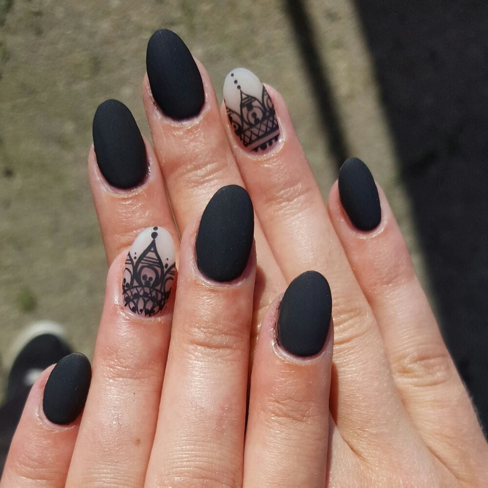 This Is A Henna Inspire Freehand Nail Art Black Matte Seem To Be