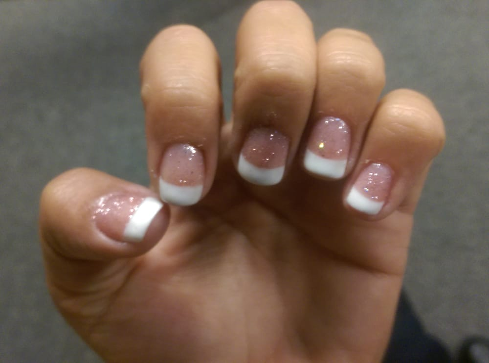 Shellac french manicure with sparkly pink base - Yelp