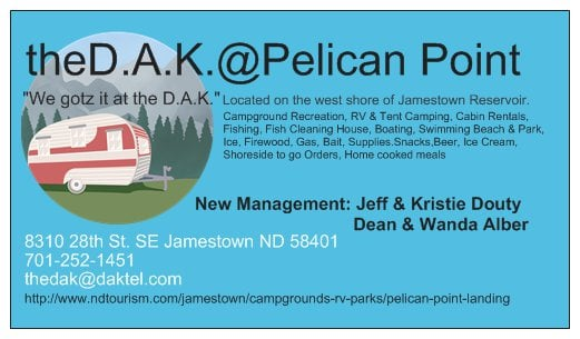 Pelican Point Campground: 8310 28th St SE, Jamestown, ND