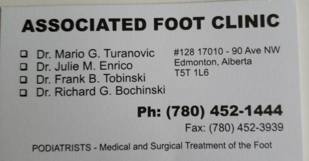 Associated Foot Clinic - 17010-90 Avenue, Edmonton, AB - 2019 All