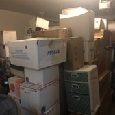Photo of moveON moving - Las Vegas, NV, United States. boxes stacked in garage when they were supposed to be put in the loft