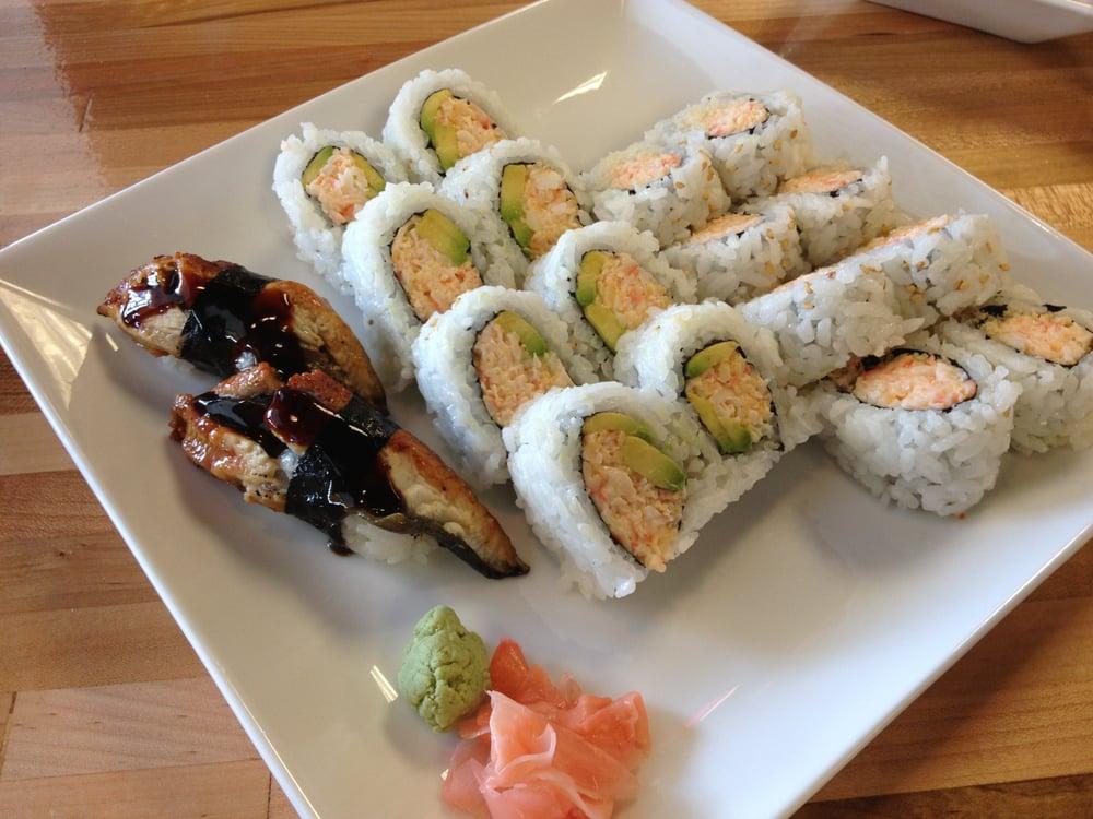 Left to right: Eel nigiri, snow crab roll, crunchy roll - Yelp