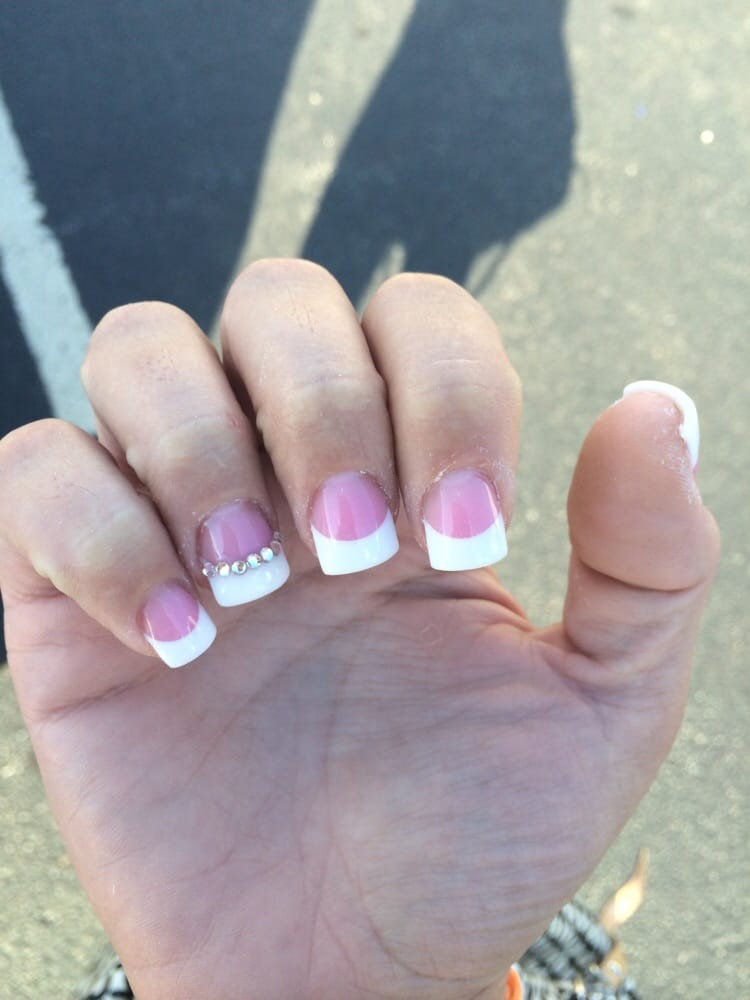 Pink White Full Set With Rhinestones Accent Nail Flawless Yelp