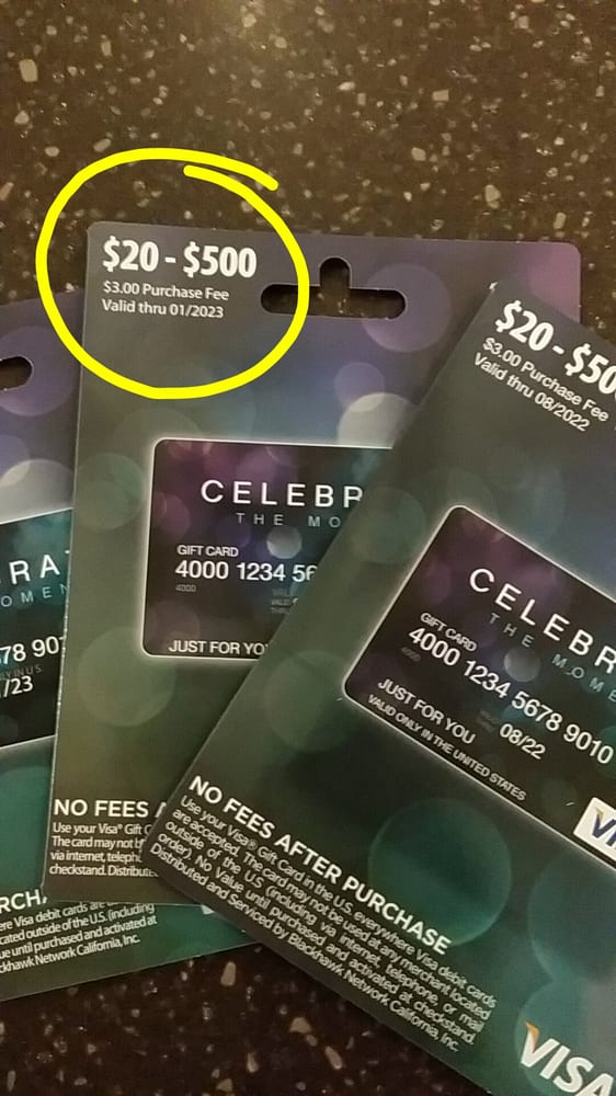 is there an activation fee for gift cards