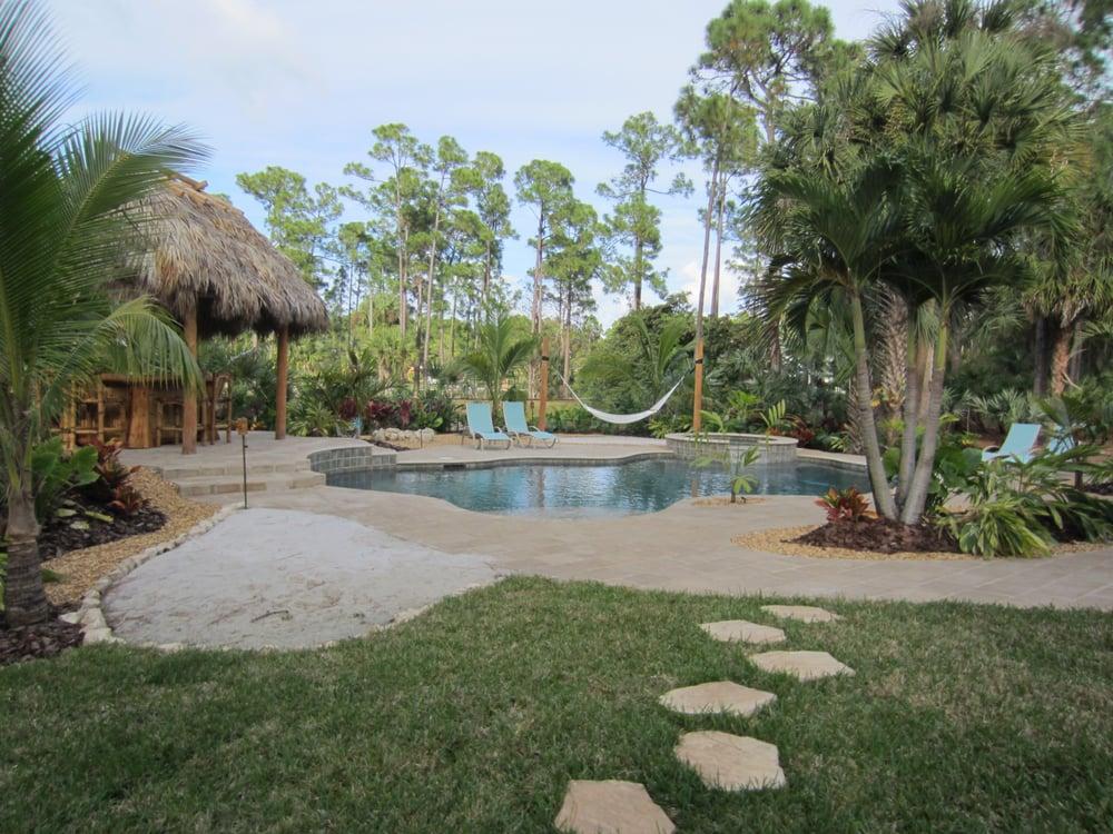 Tropical Landscape Sand Amp Hammock Area Fire Pit Pool