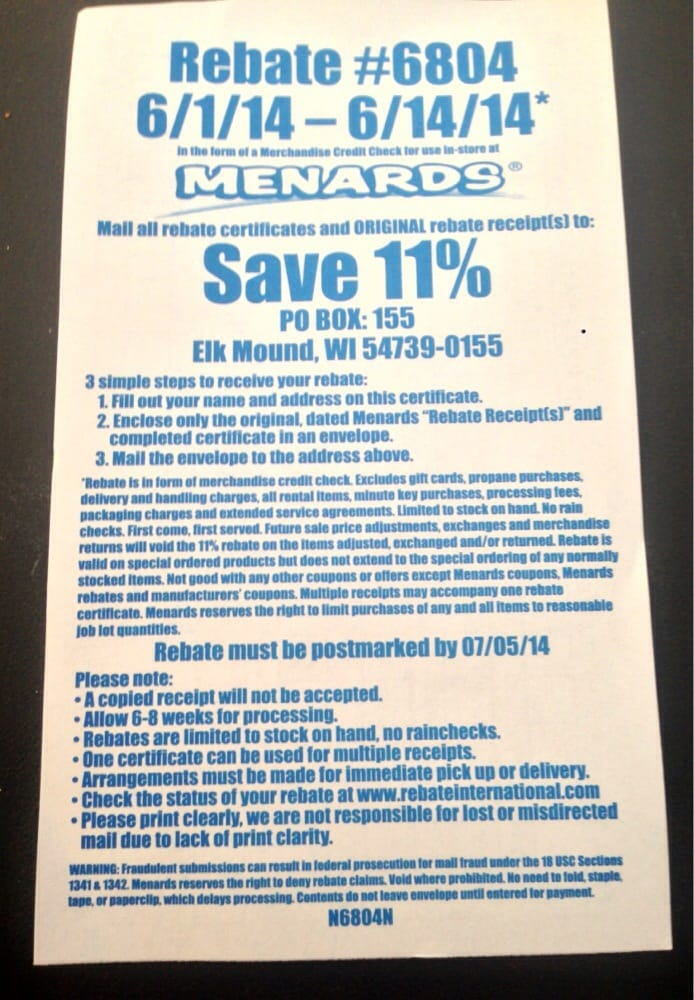 11% mail in rebate on entire purchases from June 1-14 of