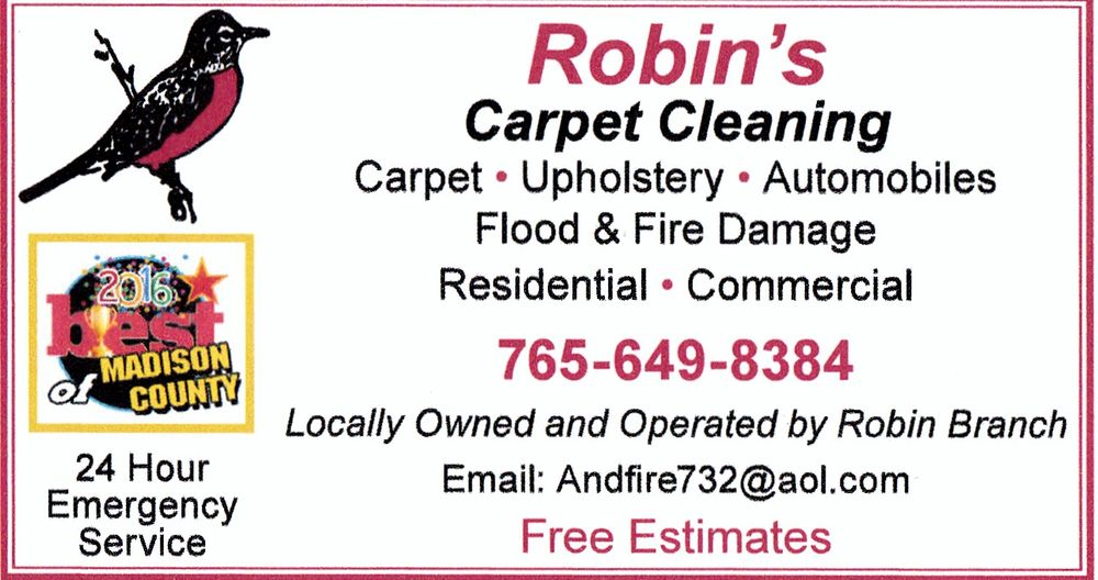 Robin's Carpet Cleaning: 2509 Lake Dr, Anderson, IN