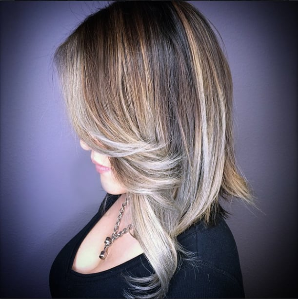 My Second Session Silver Blond Balayage Highlights Over An Ombr