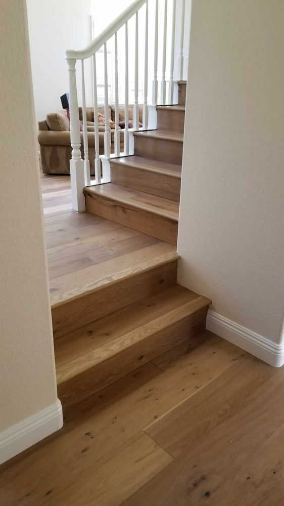 Engineered Wood, Installed Floating On Stairs   Yelp