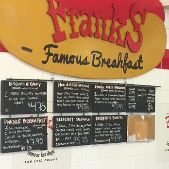 Franks Famous Hot Dogs Menu