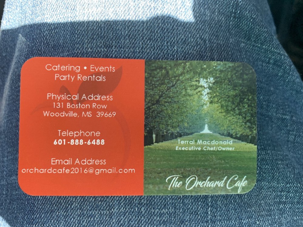 The Orchard cafe: 131 Boston Row, Woodville, MS