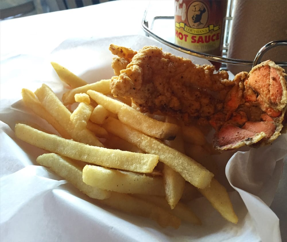 Fried lobster tail w fries yelp for Two fish crab shack