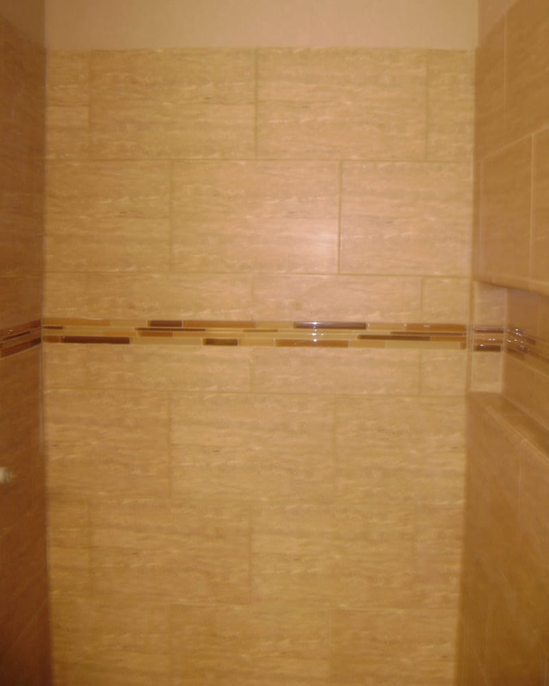 Shower With Large Rectangle Tile Glass Stick Mosaic Tile