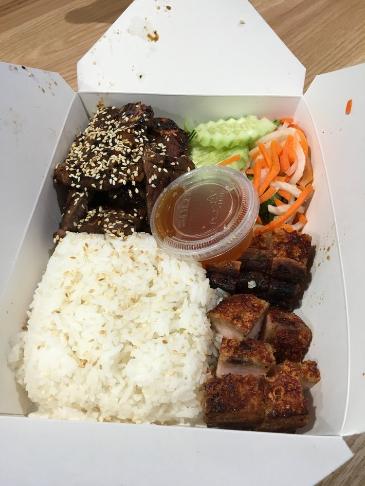 Delicious crispy pork belly and short rib combo with rice