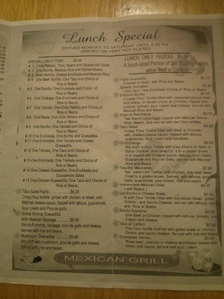 Los Encinos Mexican Grill: 132 W Main St, Calhoun City, MS