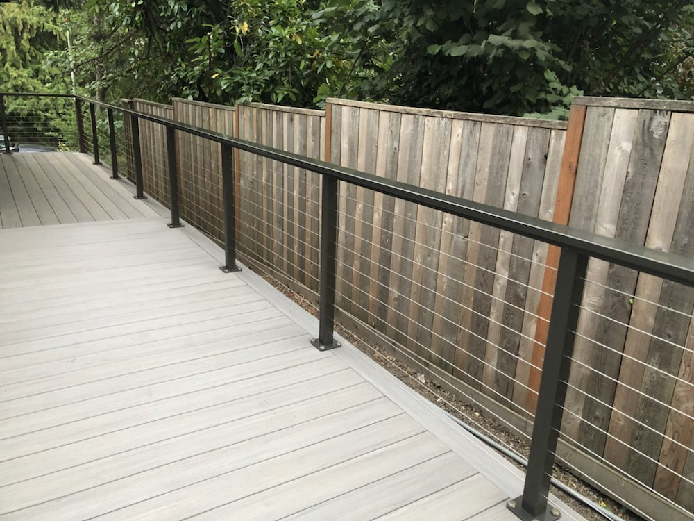 Azek decking with aluminum rail posts & stainless steel