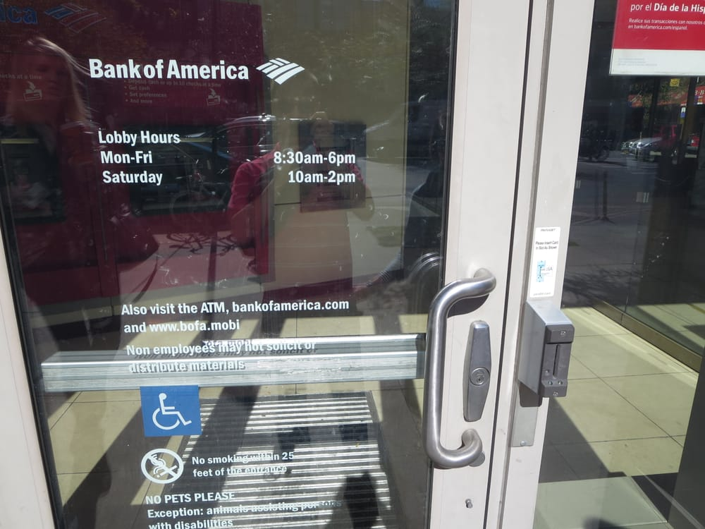 Entrance to ATM area. You must swipe your Bank of America card to ...