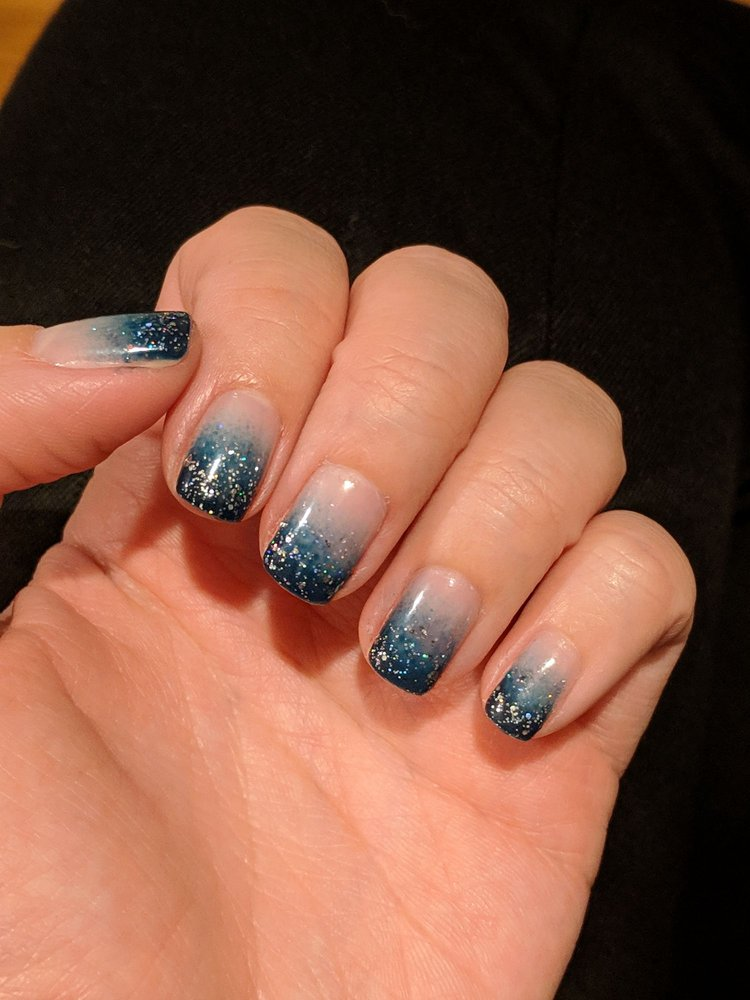 Dark blue-green ombré nails with glitter tips  Love 'em! - Yelp