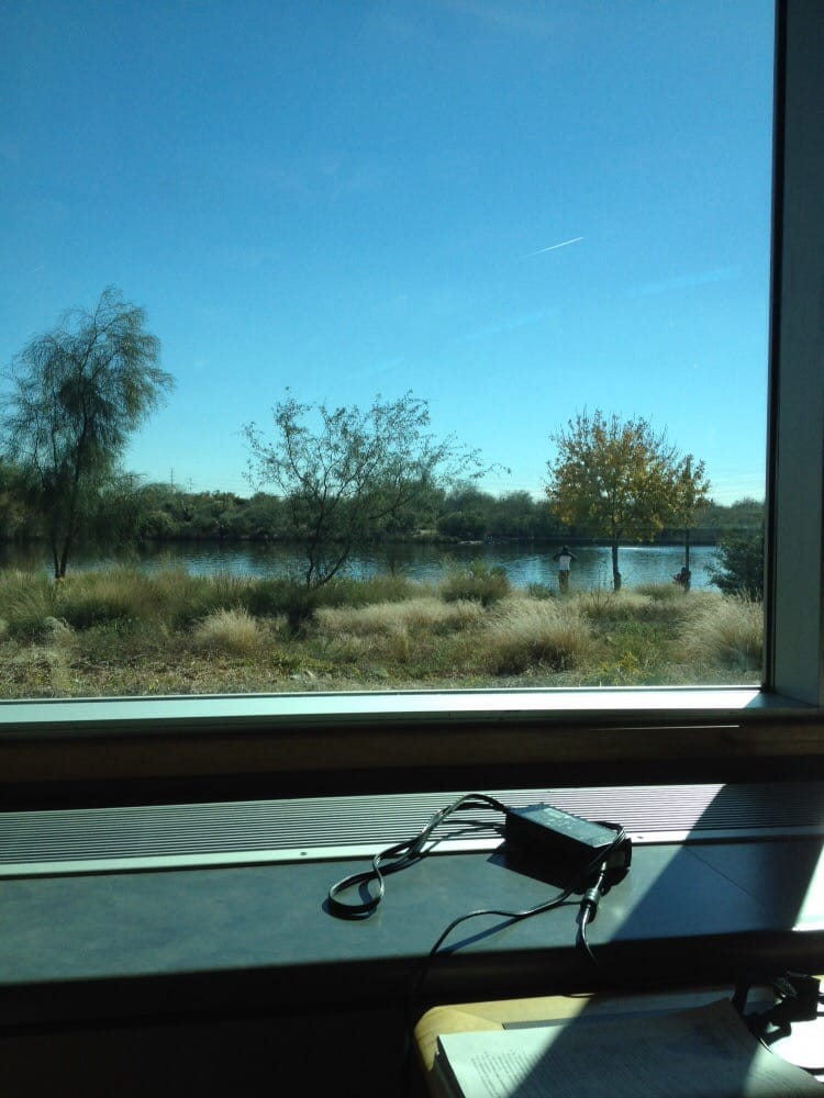 View from the study table facing the Riparian Preserve  It's