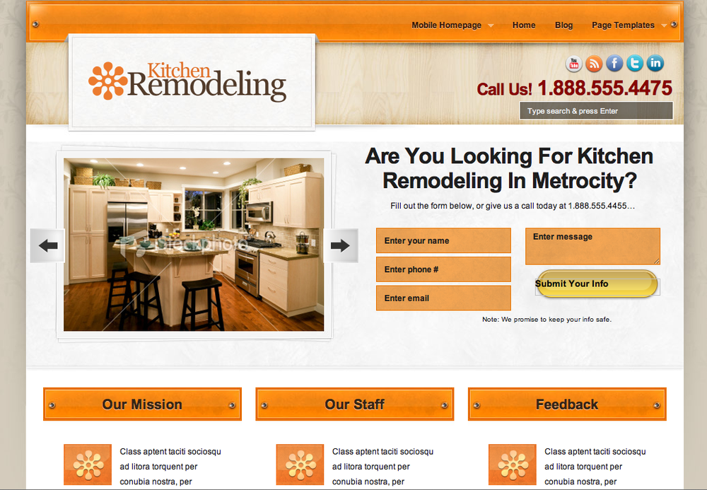 home remodeling company local business website example - yelp