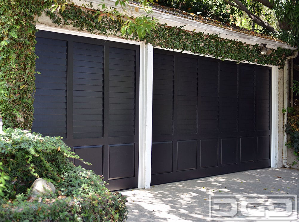 Louvered style composite wood garage doors los angeles for Composite wood garage doors