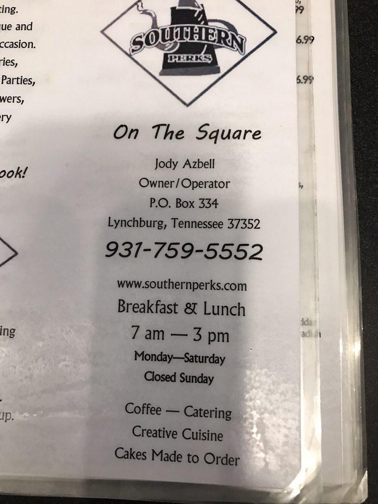 Southern Perks Cafe & Bistro: 10 Short St, Lynchburg, TN
