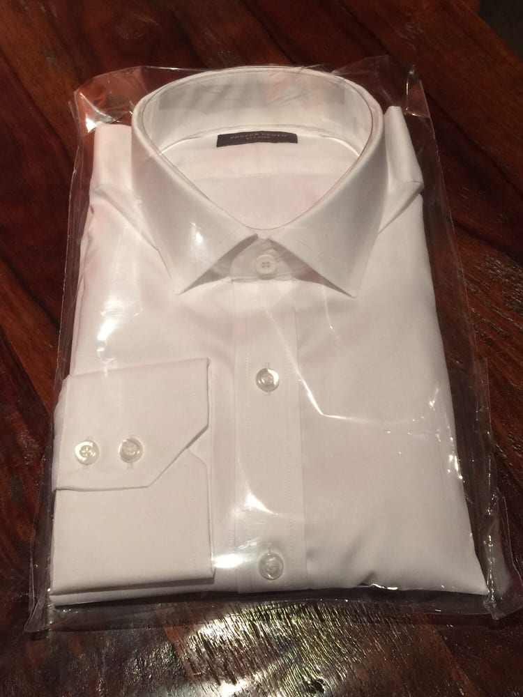 Hassle free packaging essential white wrinkle free for Proper cloth custom shirt price