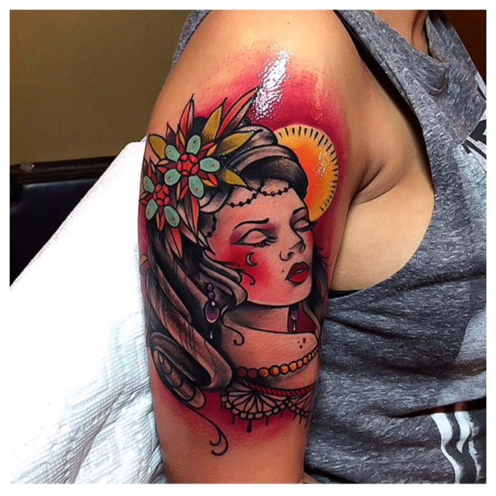 Traditional style gypsy done by grant yelp for Red baron tattoo