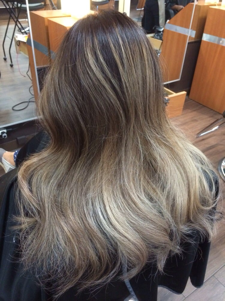 Cool Toned Balayage Ombr With Ash Brown Base Color Change Yelp