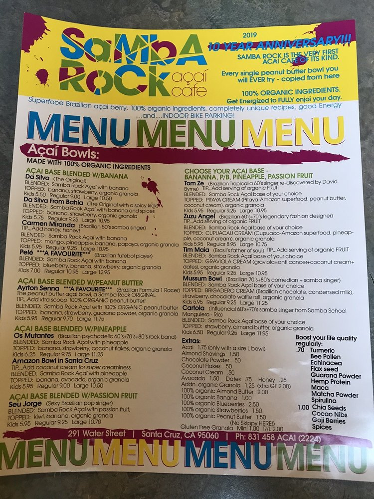 Samba Rock Acai Cafe: 291 Water St, Santa Cruz, CA