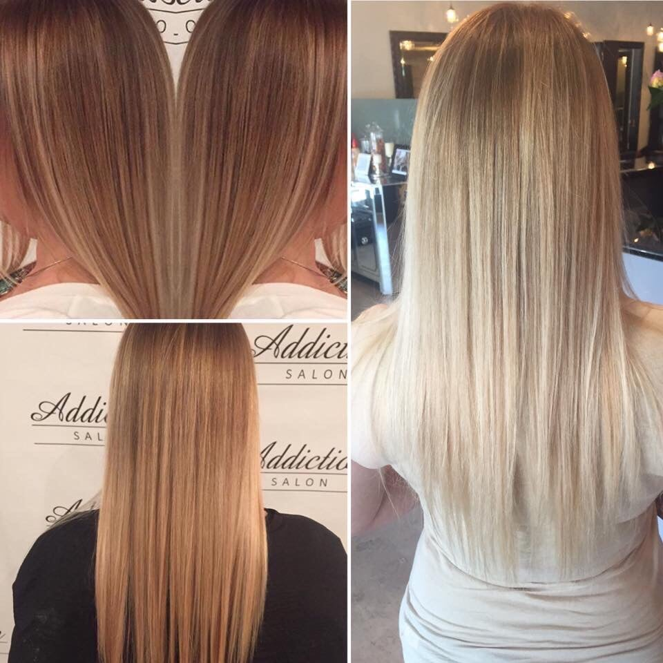 Progession of my blonde ombre combined with olaplex my - Addiction hair salon ...