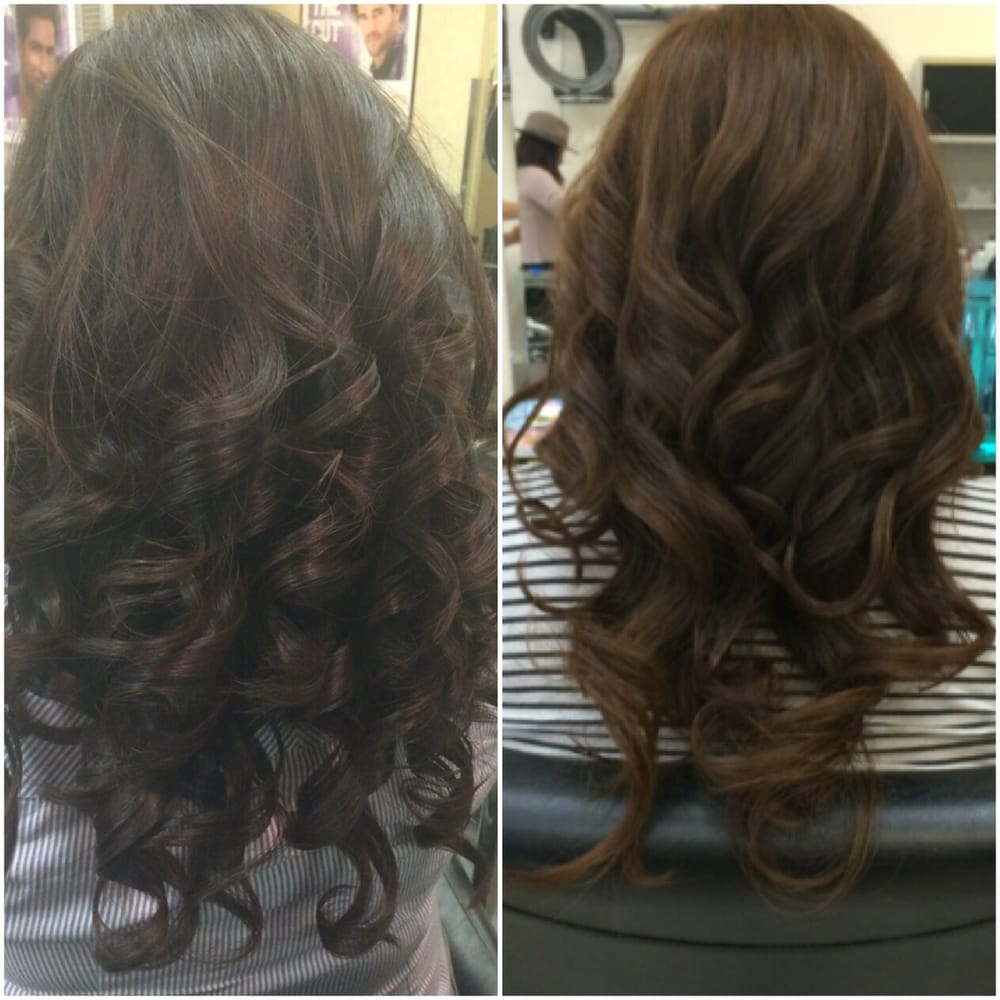 Original Hair Color On The Left A Few Shades Lighter On The Right