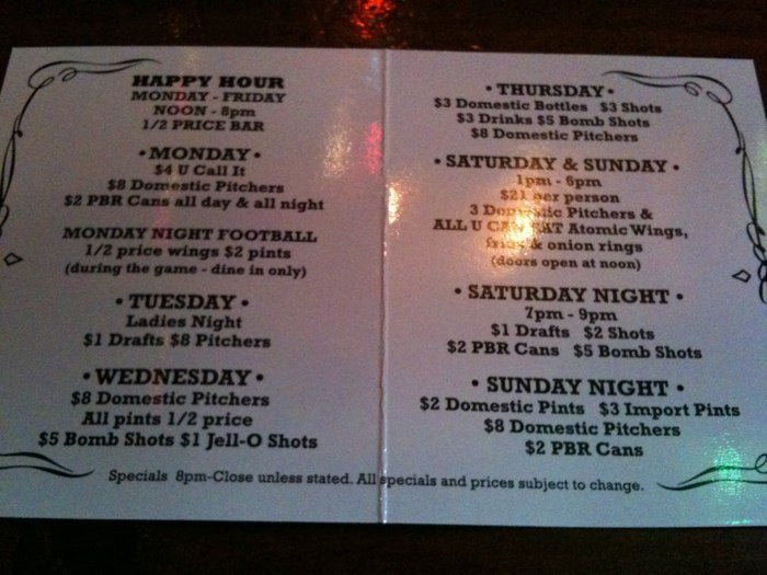 Drink specials all week yelp for Down the hatch meaning