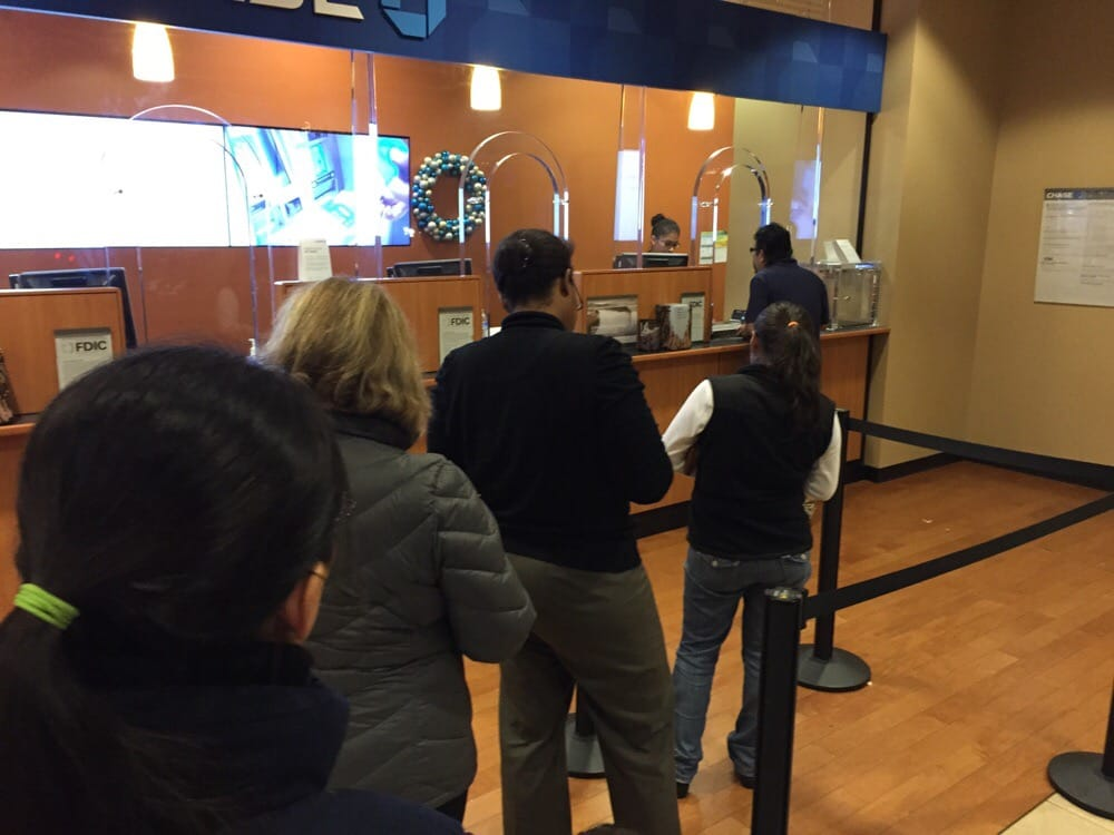 Standing In Line At Chase Bank Six People In Front Of