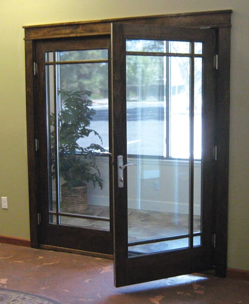Milgard Essence Wood French Door On Display With A
