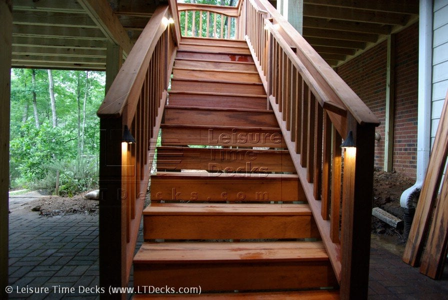 ga united states tigerwood deck stairs with low voltage lighting
